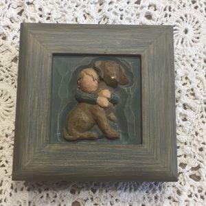 Willow Tree Hug Trinket box/jewelry Boy dog